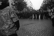 The first of May in 1987 was a turning point in the celebration of the day of labor in Kreuzberg. The unrest in the eastern part of Kreuzberg (SO 36) on this day were so intense that the police had to retreat for several hours from this district. Since then left-wing political groups held so called 'Revolutionaere 1.-Mai-Demonstrationen'. In the night before and the night of the first of May (Walpurgis Night) as well as in the evening on the first of May riots break out in the districts of Kreuzberg, Prenzlauer Berg and Friedrichshain.<br /> <br /> For 1987 there were already many clashes between squatters and/or left radical groups on the one hand and the police on the other. Also around the annual street festival on the first of May at Lausitzer Platz, which was organized by left-wing groups, were small political demonstrations and sometimes small commotion arose. These were considered normal and caused little fuss.<br /> <br /> However, this year the atmosphere was strained by additional suppressant found measures of the conservative city council and the extensions for the celebration of the 750th anniversary of Berlin, which was unjustified waste of money in the eyes of the poorer population groups and left radicals. A raid by the police in an office of a political leftist group lit the fuse in the powder keg. In response there were police cars overturned, barricades raised in different places in the streets, cars set on fire, several looted supermarkets and a subway station severely damaged. The police were initially powerless and could only withdraw from the relevant district. Only on the second day of May the police could restore order by using water cannons and evacuation vehicles.<br /> <br /> In the following year, in 1988, the so-called, 'Revolutionäre 1. Mai-Demonstration' was held. The initiative for this demonstration came from leftist groups. They wanted this demonstration protesting mainly against capitalism, racism, sexism, war, fascism and exploita