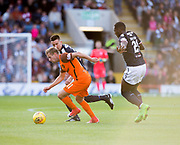 August 9th 2017, Dens Park, Dundee, Scotland; Scottish League Cup Second Round; Dundee versus Dundee United; Dundee's Cammy Kerr and Roarie Deacon try to shut down Dundee United's Billy King