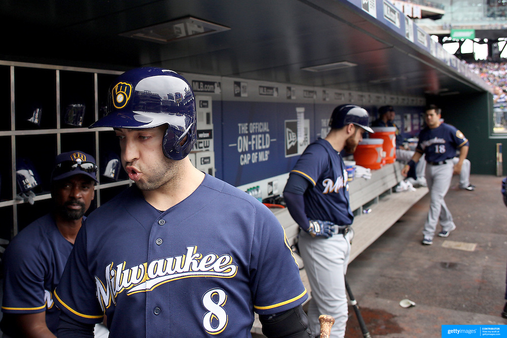 NEW YORK, NEW YORK - May 22:  Ryan Braun #8 of the Milwaukee Brewers in the dugout preparing to bat during the Milwaukee Brewers Vs New York Mets regular season MLB game at Citi Field on May 22 2016 in New York City. (Photo by Tim Clayton/Corbis via Getty Images)