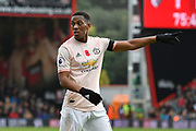 Anthony Martial (11) of Manchester United points during the Premier League match between Bournemouth and Manchester United at the Vitality Stadium, Bournemouth, England on 3 November 2018.