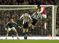 Photo: Olly Greenwood.<br />Arsenal v Newcastle United. The Barclays Premiership. 18/11/2006. Arsenal's Emmanuel Adebayor has a chance at goal in injury time but Newcastle's Shay Given saves