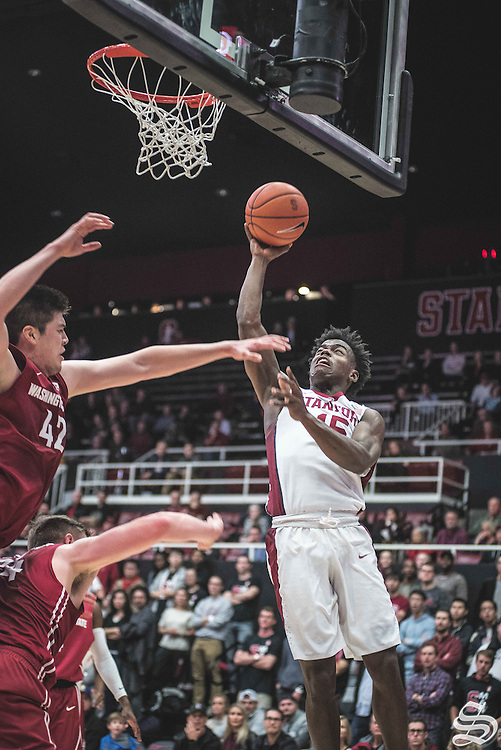 Marcus Allen #15 vs. Washington State on January 12, 2017 at Maples Pavilion in Stanford, CA. Photo by Ryan Jae.