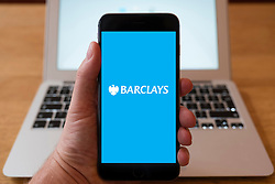 Using iPhone smart phone to display website logo of Barclays bank