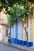 Colonial windows, Cartagena de Indias, Bolivar Department,, Colombia, South America.