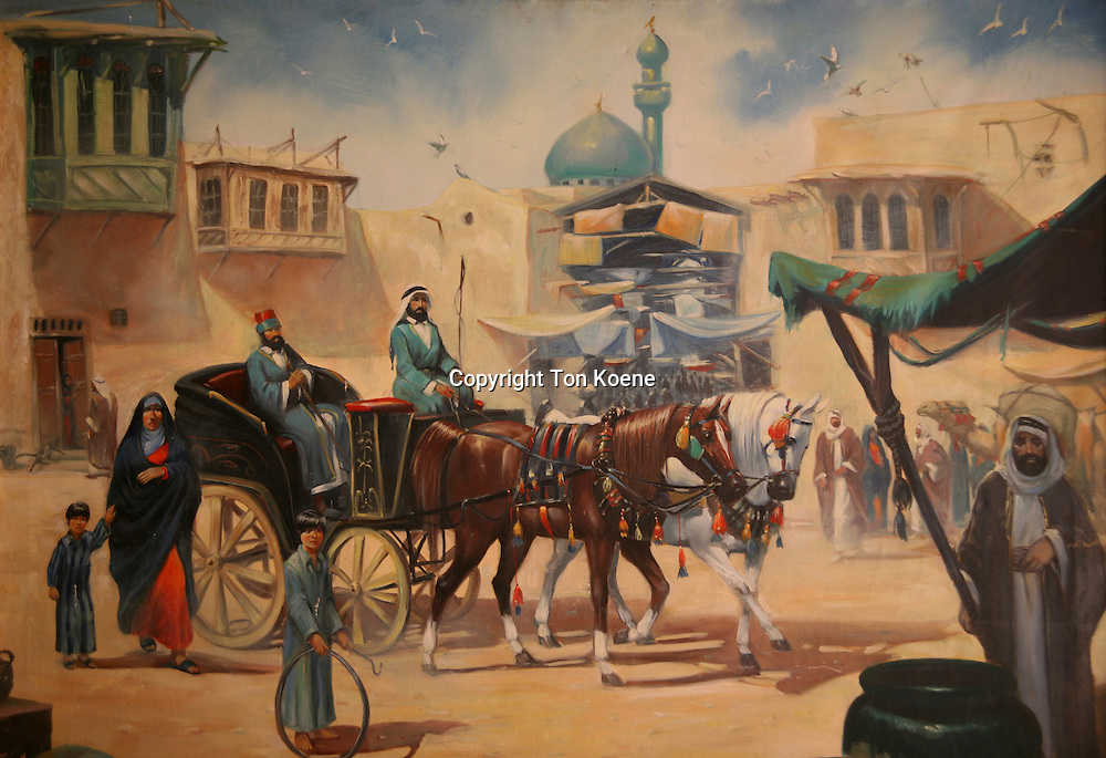 A painting of street life in Jordan.
