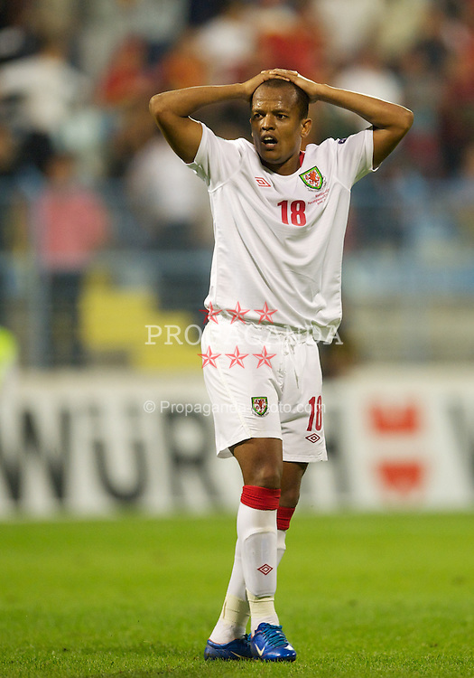 PODGORICA, MONTENEGRO - Friday, September 3, 2010: Wales' Robert Earnshaw looks dejected as his side are denied an equalising goal against Montenegro during the opening UEFA Euro 2012 Qualifying Group 4 match at the Stadion Podgorica. (Pic by David Rawcliffe/Propaganda)