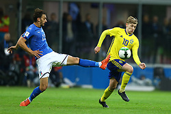 November 13, 2017 - Milan, Italy - FIFA World Cup Qualifiers play-off Switzerland v Northern Ireland.Manolo Gabbiadini of Italy and Emil Forsberg of Sweden at San Siro Stadium in Milan, Italy on November 13, 2017..Photo Matteo Ciambelli / NurPhoto  (Credit Image: © Matteo Ciambelli/NurPhoto via ZUMA Press)