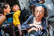 DPAC organise a protest outside the Department of Work and Pensions to demand that they save the Independent Living Fund. It is suported by tv actress Liz Carr from Silent Witness (pictured right). There is a heavy police presence in the background, after the Abbey closure at the weekend, but the liaison officers are very friendly. Westminster, London, UK 04 July 2014.