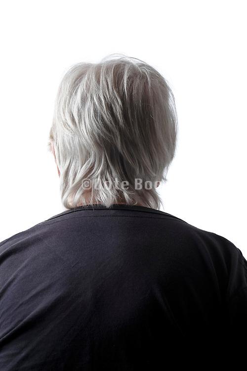 back view portrait of senior woman