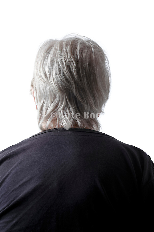 back view portrait of senior woman