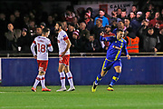 Jamey Osborne scores a goal to make it 1-0 and celebrates during the The FA Cup match between Solihull Moors and Rotherham United at the Automated Technology Group Stadium, Solihull, United Kingdom on 2 December 2019.