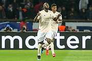 GOAL - Manchester United Forward Romelu Lukaku celebrates during the Champions League Round of 16 2nd leg match between Paris Saint-Germain and Manchester United at Parc des Princes, Paris, France on 6 March 2019.