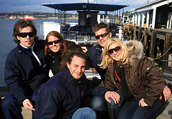 David Rodman, xy, Gregor Poloncic, Marcel Rodman and Marcel`s girlfriend Veronika Potocnik infront of whale watching boat, during IIHF WC 2008 in Halifax,  on May 07, 2008, sea at Halifax, Nova Scotia, Canada. (Photo by Vid Ponikvar / Sportal Images)
