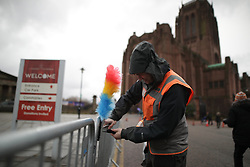 © Licensed to London News Pictures. 28/03/2018. Liverpool, UK. Tickle sticks line the roadway to the cathedral ahead of the funeral of comedian and performer Sir Ken Dodd , who died on 11th March 2018 at the age of 90. Photo credit: Joel Goodman/LNP