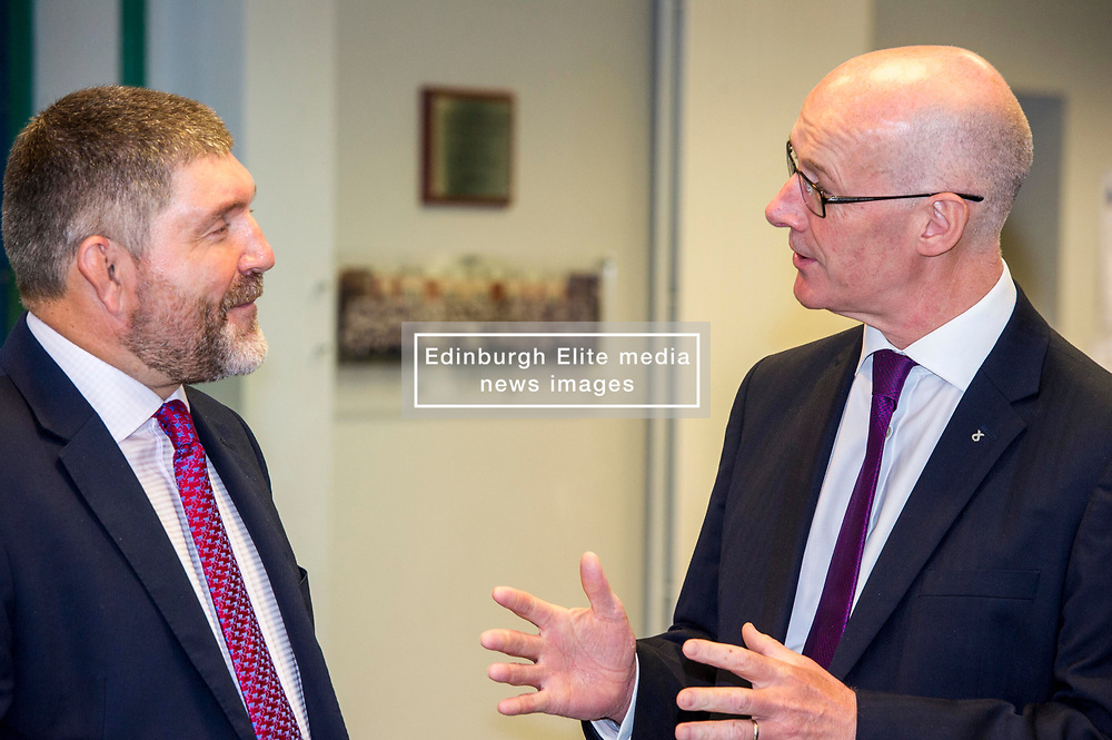 Pictured: Mr Swinney was welcomed to the schol by Head teacher Graham Hamilton<br /> <br /> Education Secretary  John Swinney visited Firrhill School today and met students and parents as the results wer available for opening.<br /> <br /> <br /> Ger Harley | EEm 7 August 2018