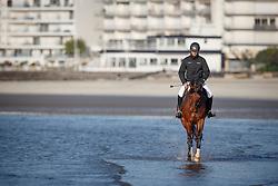 Guerdat Steve, (SUI), Corbinian <br /> Sunday morning beach training - La Baule 2016<br /> © Hippo Foto - Dirk Caremans<br /> 15/05/16