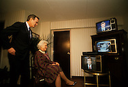 Vice President H W Bush (Bush 41), watch the returns from the New Hampshire  in  March 1988..Photograph by Dennis Brack bb24