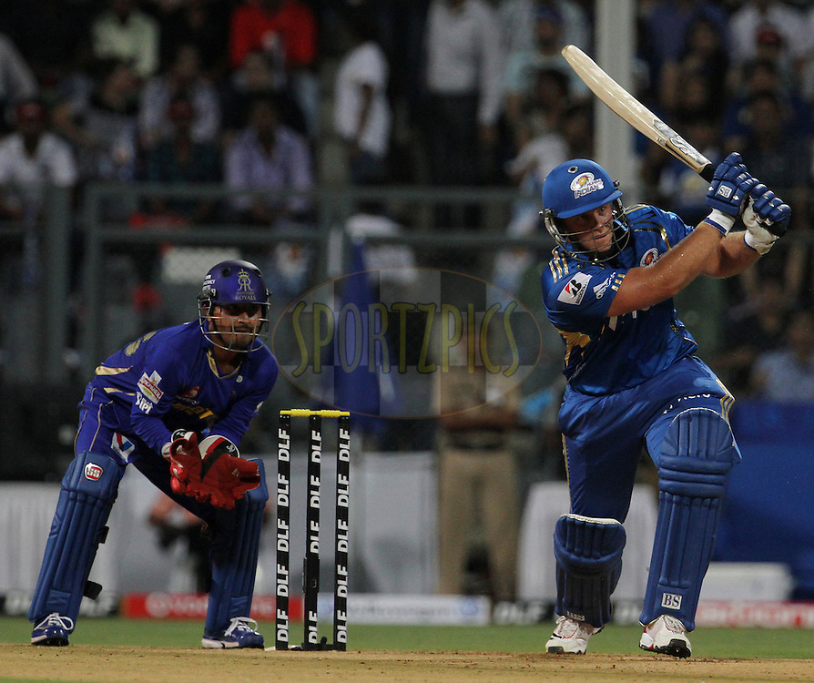 Mumbai Indian player Richard Levi plays a shot during match 12 of the Indian Premier League ( IPL) 2012  between The Mumbai Indians and the Rajasthan Royals held at the Wankhede Stadium in Mumbai on the 11th April 2012..Photo by Vipin Pawar/IPL/SPORTZPICS