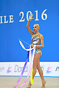 "Kudryavtseva Yana of Russia competes during the rhythmic gymnastics individual of the World Cup at Adriatic Arena on April 2, 2016 in Pesaro, Italy. Yana ""The Queen"" is a Russian gymnast born in Moscow on 30 September 1997. Until her retirement in 2017 was one of atllete most awarded in the history of rhythmic gymnastics."