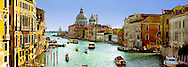 Boats in a canal with a Cathedral in the background, Santa Maria della Salute, Grand Canal, Venice