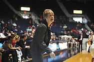 """Alabama head coach Kristy Curry reacts against Mississippi at the C.M. """"Tad"""" Smith Coliseum in Oxford, Miss. on Sunday, January 11, 2015. (AP Photo/Oxford Eagle, Bruce Newman)"""