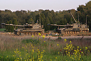 Israel, Gaza border, IDF tanks parked in a field base near the Gaza-Israeli eastern border. On Feb 28, 2008.