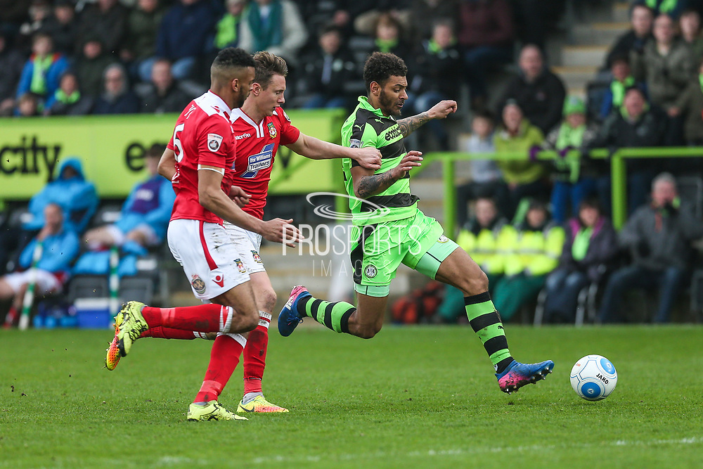 Forest Green Rovers Kaiyne Woolery(14) runs forward during the Vanarama National League match between Forest Green Rovers and Wrexham FC at the New Lawn, Forest Green, United Kingdom on 18 March 2017. Photo by Shane Healey.