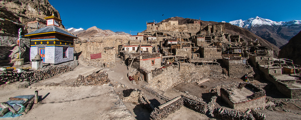 Nepal, Annapurna Region, the Phu River valley. This is Phu Village near the border with Tibet and an ancient salt trading outpost.