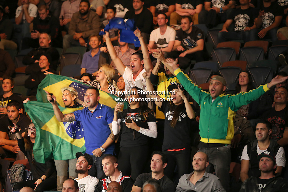 The crowd gets in behind the Brazillian fighters during the UFC Ultimate Fighting Championship fight night held at Vector Arena in Auckland on Saturday 28th of July 2014. <br /> Credit; Peter Meecham/ www.photosport.co.nz