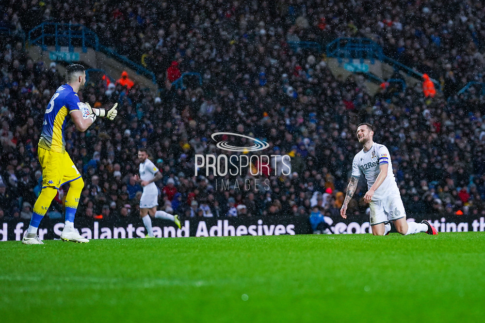 Leeds United goalkeeper Kiko Casilla (13) reacts to Leeds United defender Liam Cooper (6) pass during the EFL Sky Bet Championship match between Leeds United and Bristol City at Elland Road, Leeds, England on 15 February 2020.