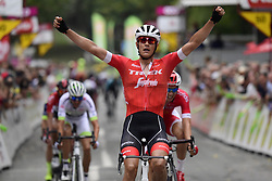 September 12, 2018 - Namur, BELGIQUE - NAMUR, BELGIUM - SEPTEMBER 12 : STUYVEN Jasper (BEL)  of Trek - Segafredo wins before CLAEYS Dimitri (BEL)  of Cofidis, Solutions Credits and BARGUIL Warren (FRA)  of Team Fortuneo - Samsic during the 2018 Grand Prix de Wallonie cycling race with start in Blegny and finish in Namur on September 12, 2018 in Namur, Belgium, 12/09/2018 (Credit Image: © Panoramic via ZUMA Press)