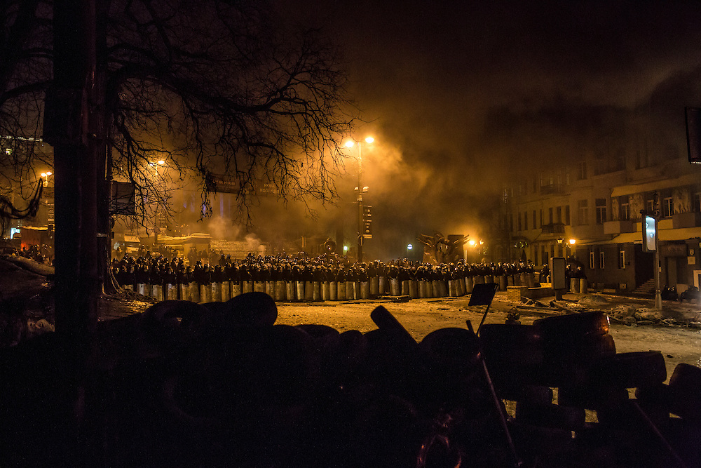 KIEV, UKRAINE - JANUARY 24: Police block a street near Dynamo stadium on January 24, 2014 in Kiev, Ukraine. After two months of primarily peaceful anti-government protests in the city center, new laws meant to end the protest movement have sparked violent clashes in recent days. (Photo by Brendan Hoffman/Getty Images) *** Local Caption ***