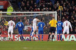 Sam Vokes of Wales (Burnley) scores a goal. - Photo mandatory by-line: Dougie Allward/JMP - Tel: Mobile: 07966 386802 03/03/2014 -