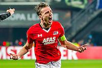 ALKMAAR - 08-12-2016, AZ - FC Zenit, AFAS Stadion, AZ speler Ben Rienstra heeft de 1-0 gescoord, juichen, juicht.