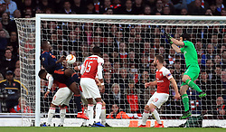 Valencia's Mouctar Diakhaby (second left) scores his side's first goal of the game during the UEFA Europa League Semi final, first leg match at The Emirates Stadium, London.
