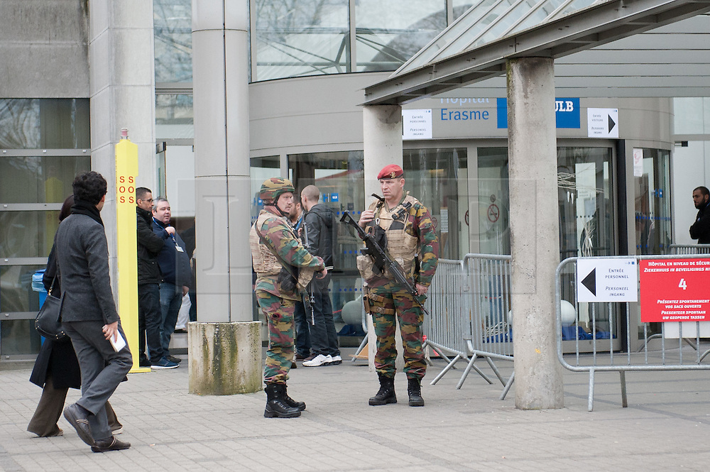 © Licensed to London News Pictures. Brussels, Belgium 23/03/2016: Heavy military presence inside Hôpital Erasme, Lenniksebaan just west of Brussels where victims from the bombings are being treated. Picture credit: Guilhem Baker/LNP