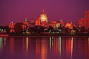 Harrisburg, PA Capitol Skyline, Night Lights, reflections on Susquehanna River