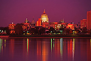 Harrisburg, PA Capitol Skyline, Night Lights, reflections on Susquehanna River
