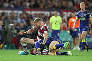 Sam Tomkins of Wigan Warriors clashes with Daryl Clark of Warrington Wolves during the Betfred Super League Grand Final match at Old Trafford, Manchester.<br /> Picture by Michael Sedgwick/Focus Images Ltd +44 7900 363072<br /> 13/10/2018