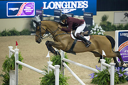 Mohammed Bassem Hassan, (QAT), Primeval Dejavu<br /> Longines FEI World Cup™ Jumping Final III round 1<br /> Las Vegas 2015<br />  © Hippo Foto - Dirk Caremans<br /> 19/04/15