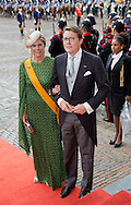 The Hague, 15-09-2015<br /> <br /> King Willem-Alexander and Queen Maxima, Prince Constantijn and Princess Laurentien arrive at The Hall of Knights with the Golden Carriage at the Opening of the Parliamental Year.<br /> <br /> Photo: Royalportraits Europe/Bernard Ruebsamen