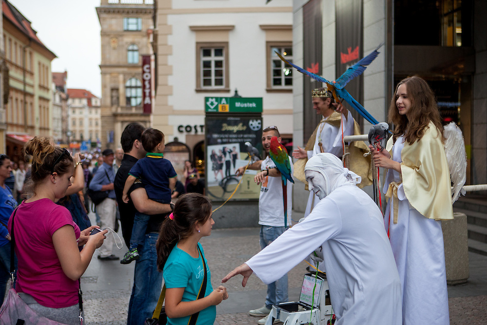 Pantomine street artists at the end of Wenceslas Square in Prague.