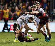 Glasgow Warriors' Nick Grigg is tackled by Dragons' James Benjamin<br /> <br /> Photographer Simon King/Replay Images<br /> <br /> Guinness PRO14 Round 14 - Dragons v Glasgow Warriors - Friday 9th February 2018 - Rodney Parade - Newport<br /> <br /> World Copyright © Replay Images . All rights reserved. info@replayimages.co.uk - http://replayimages.co.uk