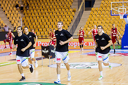 Domen Lorbek of Slovenia, Luka Lapornik of Slovenia and Goran Dragic of Slovenia during friendly match between National teams of Slovenia and Latvia for Eurobasket 2013 on August 2, 2013 in Arena Zlatorog, Celje, Slovenia. (Photo by Vid Ponikvar / Sportida.com)