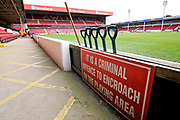 A do not enter onto the pitch sign before the EFL Sky Bet League 1 match between Walsall and Barnsley at the Banks's Stadium, Walsall, England on 23 March 2019.
