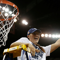 Apr 9, 2013; New Orleans, LA, USA; Connecticut Huskies center Stefanie Dolson (31) celebrates after cutting the net after the championship game in the 2013 NCAA womens Final Four against the Louisville Cardinals at the New Orleans Arena. Connecticut defeated Louisville 93-60. Mandatory Credit: Derick E. Hingle-USA TODAY Sports