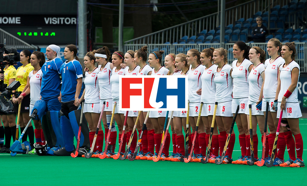 BRASSCHAAT (ANTWERP) - Polish National Team. during the Fintro Hockey World League Semi-Final match between the women of New Zealand and Poland. COPYRIGHT WORLDSPORTPICS KOEN SUYK