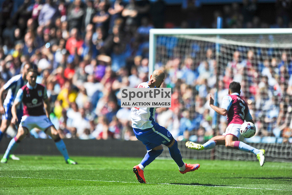 BRIGHTONS bruno misses his chance to put brighton 2 up, Aston Villa v Brighton Hove Albion Sky Bet Championship Villa Park Sunday 7th May 2017<br /> Photo:Mike Capps