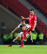 4th September 2017, Hampden Park, Glasgow, Scotland; World Cup Qualification, Group F; Scotland versus Malta; Malta's Ryan Fenech and Scotland's James McArthur