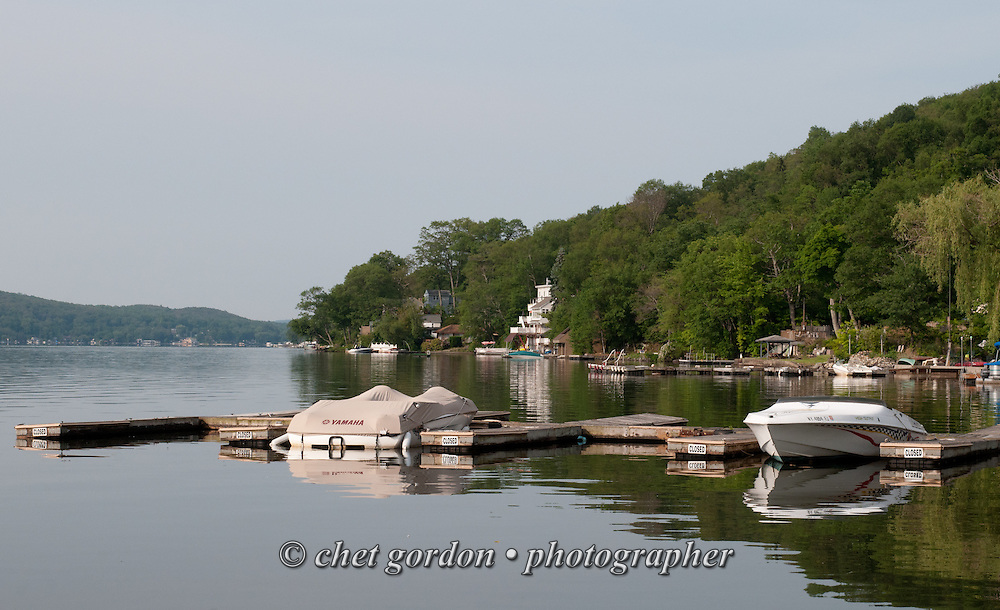 GREENWOOD LAKE, NY.  Recreational boats moored on Greenwood Lake in Greenwood Lake, NY on Friday morning, June 12, 2015.  © Chet Gordon/THE IMAGE WORKS
